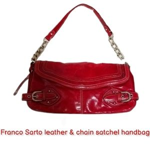 Franco Sarto leather & chain satchel handbag